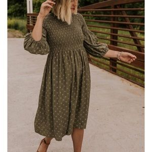 SOLD! Roolee olive midi dress